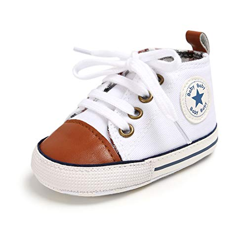 KSMA Baby Boys Girls Canvas Toddler Sneaker Anti-Slip First Walkers Candy Shoes, 01/White Brown, 0-6 Months Infant