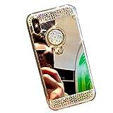 Homikon Miroir Effet Coque 360 Rotation Ring Support TPU Paillette Strass Brillante Glitter Etui de Protection Souple Soft Gel Étui Case Cover Couverture pour Apple iPhone 7 Plus/8 Plus - Argent