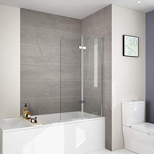 EMKE Duschtrennwand für Badewanne Faltwand Duschabtrennung Badewannenaufsatz NANO einfach-Reinigung Beschichtung 110cm
