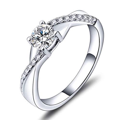 YL Anillo de compromiso plata de ley 925 Los 5MM Circonita Alianza Infinity para Mujer(Tamaño 22)