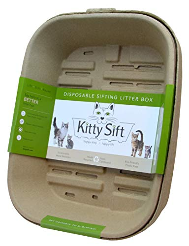 Kitty Sift Disposable Sifting Litter Box and Liner, Large Starter Set, 13.8 x 17.8 x 8.5 inches, 3 Sifting Trays, 1 Base Tray and High Shield Lid
