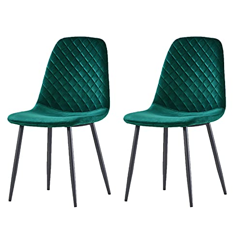 JYMTOM Dining Chairs Set of 2 4 Velvet Fabric Seat with Metal Legs Backrest Office Lounge Chair Home Furniture,green 2PC