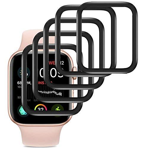 Ash-case【5 Piezas Protector de Pantalla de Vidrio Templado para Apple Watch 44mm Series 5 und Series 4 [Anti-Oil], [Anti-Bubble], [3D Full Cover], [Anti-Scratch]