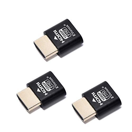 EVanlak Emulador de pantalla fantasma HDMI sin cabeza, de aluminio de alta calidad para PC (para cabeza sin cabezal, 1920 x 1080, 3RD a 60 Hz), paquete de 3