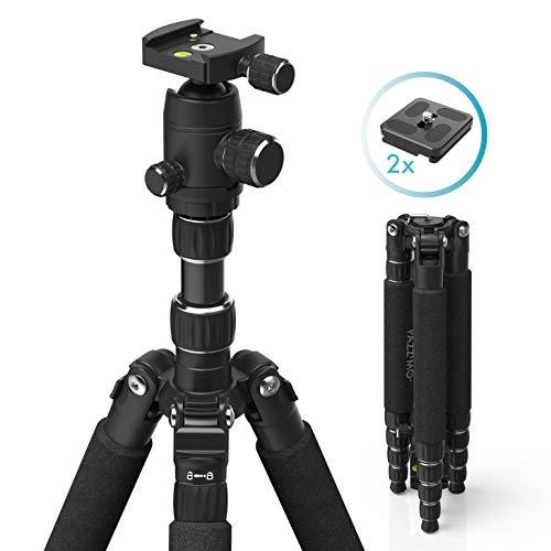 Kamera Stativ 146cm mit Handy-Halterung (Kamerastativ aus Aluminium, Fotostativ inkl. GoPro-Adapter und Zwei Schnellwechselplatten, Tripod für Smartphone DSLR SLR Canon Nikon Sony Olympus) schwarz