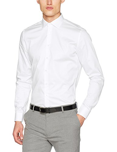 Jacques Britt Herren Como (98) Businesshemd, Weiß (Uni Weiss 1), Medium (Herstellergröße: 39/M)