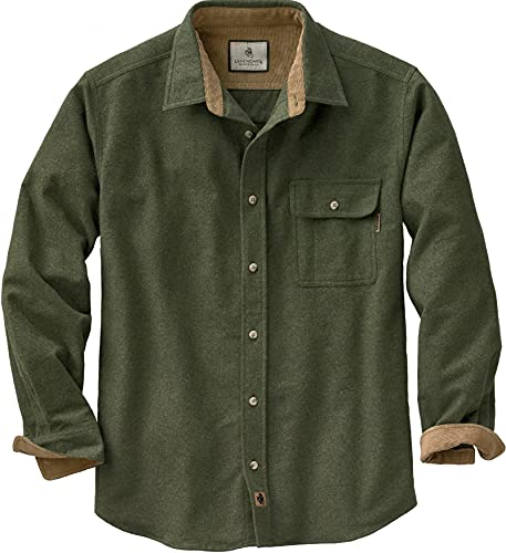 Legendary Whitetails Men's Standard Buck Camp Flannel Shirt, Army, Large