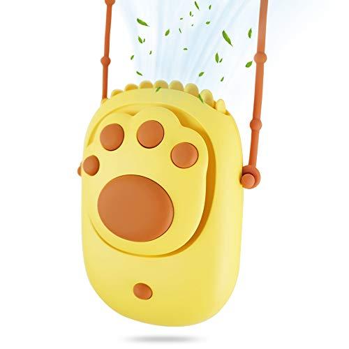 EASTLION Ventilador de Cuello, Ventilador de Carga USB Portátil, Diseño de Flujo de Aire de Manos Libres / Fuerte, Adecuado Para Oficina, Hogar, Viajes al Aire Libre(Amarillo)