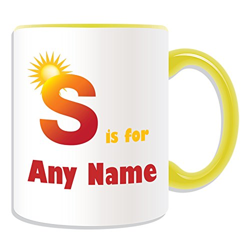 Regalo personalizado–letra S para taza (alfabeto diseño tema, colores)–cualquier nombre/mensaje en su único–A B C D E F G H I J K L M N O P Q R S T U V W X Y Z inicial, diseño de símbolo fonético Sierra de sol, cerámica, Amarillo