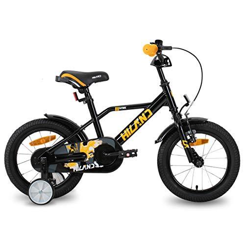 HILAND Adler Vélo pour enfant 14 pouces pour garçon 3 + ans avec stabilisateurs, frein à main et rétropédalage Noir/orange