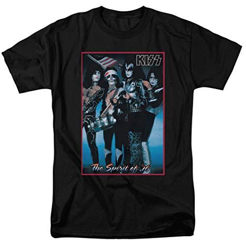KISS Spirit of '76 Rock and Roll Music T Shirt & Stickers (Medium) Black