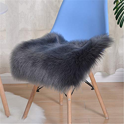 Hava Kolari Sitzkissen, Büro/Haushalt/Esstisch Stuhl Kissen Wollimitat Plüsch Winter Sitzkissen Faux Lammfell Sitzauflage (dunkelgrau,45 * 45 cm)