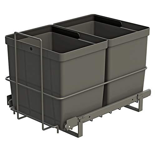 LM 79/2 Einbau Mülleimer ausziehbar mit 2x16L Abfalleimer Korbauszug anthrazitfarben 33,2x48x35,5 cm Mülltrennsystem Küche Unterschrank
