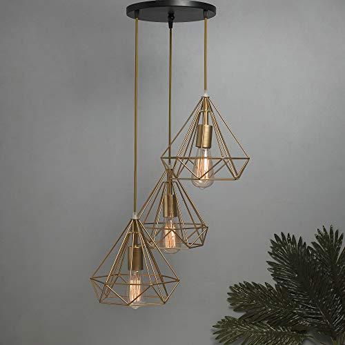 Homesake 3-Lights Round Cluster Chandelier Golden Diamond Hanging Pendant Light with Braided Cord