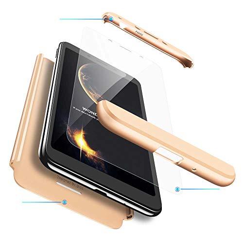 cmdkd Funda Compatible con Xiaomi Redmi 6,Case Bumper 3 en 1 Estructura 360 Grados Integral para Ambas Caras Hard Skin Carcasa + Cristal Templado.Oro
