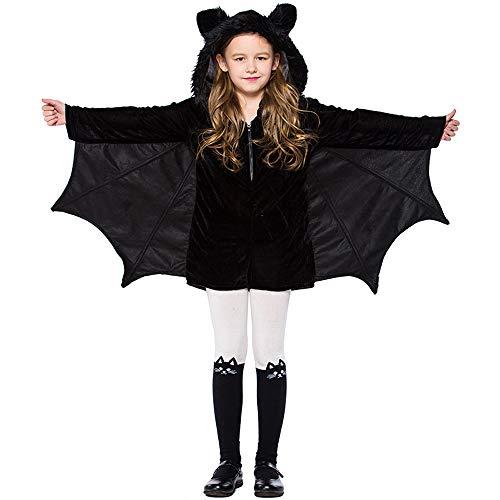 BaronHong Bat Zipster Kostüm für Damen Mädchen, Schwarzes Kleid mit Flügeln, Fellkapuze und Plüsch-Fledermausohren (schwarz, XS)
