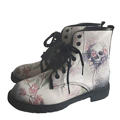 Damen Stiefel Stiefeletten warm Boots Biker Schlupfstiefel Britische Mode Werkzeugstiefel mit Totenkopf (Color : Grey, Size : 38)