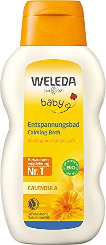 WELEDA Baby Calendula Entspannungsbad, Pflege Bad zur Beruhigung der Haut und zur Förderung von Schlaf, Naturkosmetik Pflegebad ohne Tensiden für Babys und Kleinkinder (1 x 200 ml)