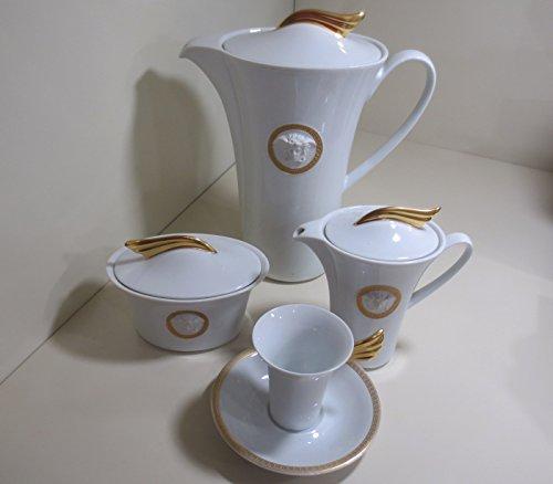 VERSACE MEDAILLON MEANDRE D'ORO SERV Kaffee 9 Stück: (6 Tassen Espresso + Kaffeekanne 1,20 l - 1 Zuckerdose 0,20 - 1 Cremiera 0,22 - 6 Espressotassen)