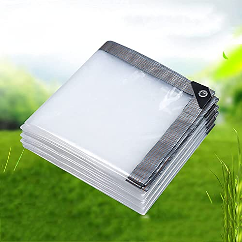 Toldo reforzado,Lona transparente impermeable, cubierta de hoja de lona transparente con ojales,...