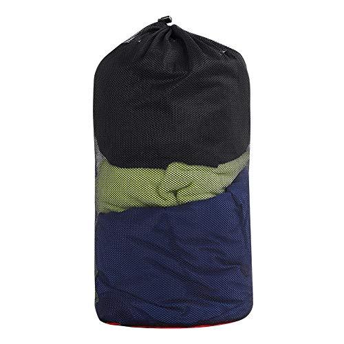 VGEBY Mesh Stuff Sack, Nylon Mesh Compression Aufbewahrungstasche Kordelzug Tasche für Camping Wandern Reisen Angeln