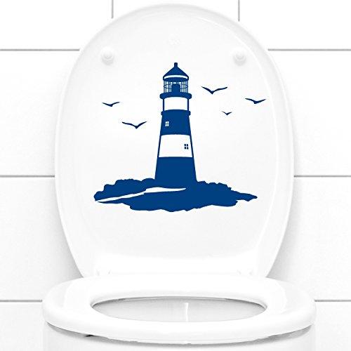 Grandora Wandtattoo WC Deckelaufkleber Leuchtturm I azurblau (BxH) 24 x 21 cm I Badezimmer Bad Toilette Sticker Aufkleber Wandaufkleber Wandsticker W1245