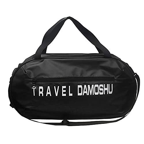 LCAWEI Bolsa de viaje 33 L impermeable bolsa de transporte con bolsillo frontal – Bolsa de viaje de fin de semana para gimnasio, yoga para hombres y mujeres, Black, L,