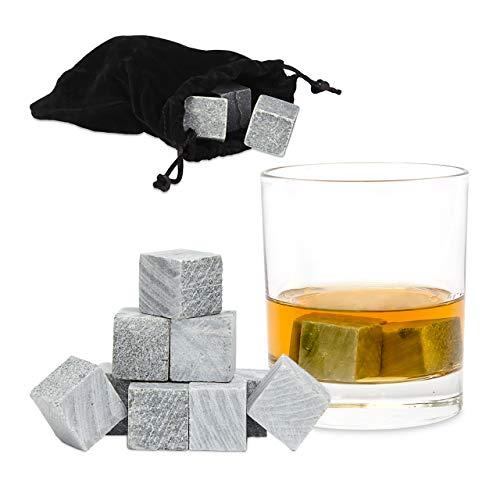 Relaxdays Whisky Steine grau im 9er Set, Eiswürfel wiederverwendbar, Kühlsteine für Getränke, Eiswürfel Speckstein, grey