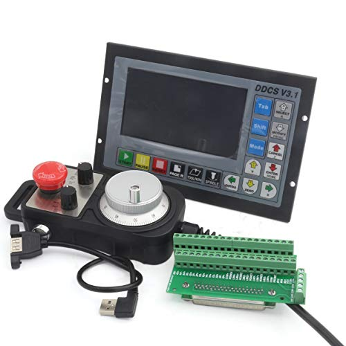4 Axis 500Khz Offline Stand Alone CNC Motion Controller System PLC G code Servo Stepper Motor Control Replace Mach3+100PPR MPG Handwheel with emergency stop for CNC Router Engraving Machine DDCSV3.1