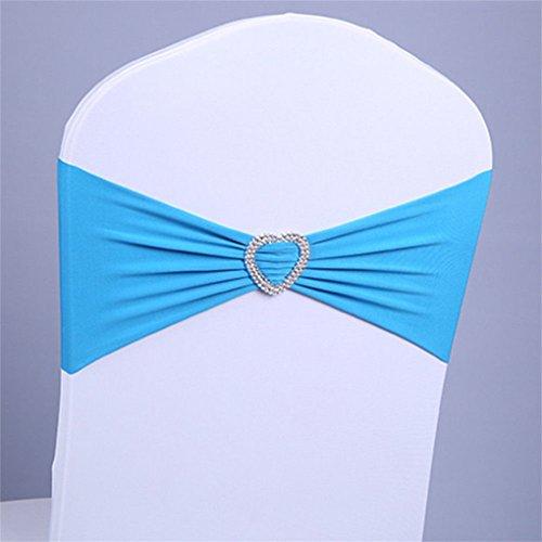 UNHO 50PCS Bandas Elásticas para Sillas Lazos de Spandex para Sillas Cintas con Hebilla para Decoración Boda Banquete Fiesta Aniversario (Azul Claro)