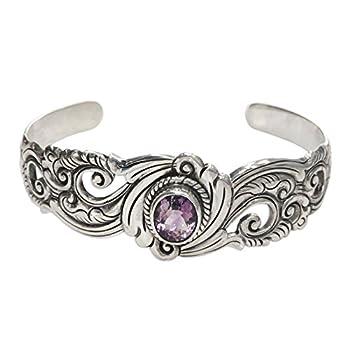 NOVICA Amethyst .925 Sterling Silver Floral Paisley Cuff Bracelet  Regal Ivy