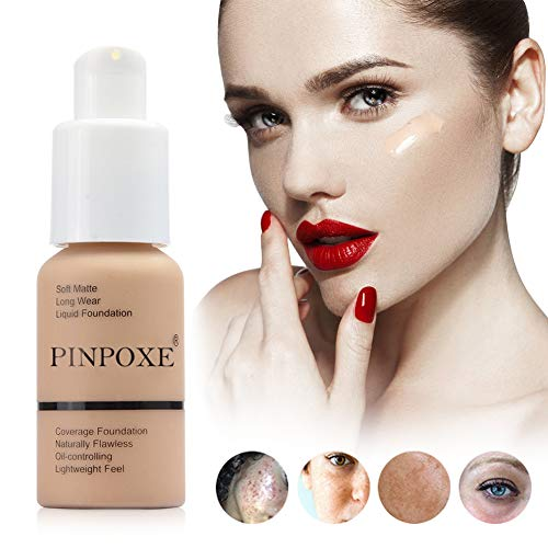 Flüssige Grundierung, Flüssige Foundation, Concealer Abdeckung, Flüssiges Make-Up, Make up Concealer für Gesicht und Hals, Abdeckung Flawless Warmer Hautton Foundation Makeup Liquid