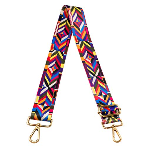 Crossbody Strap for Purses Replacement Adjustable Guitar Multicolor Style Handbag Straps (Geometry Color)