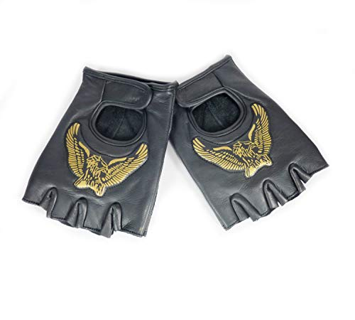 Westernwear Bikerhandschuhe Adler - Fingerfreie Bikerhandschuhe BZW. Motorradhandschuhe oder Fahrradhandschuhe aus Leder in schwarz oder braun (Schwarz, XL)