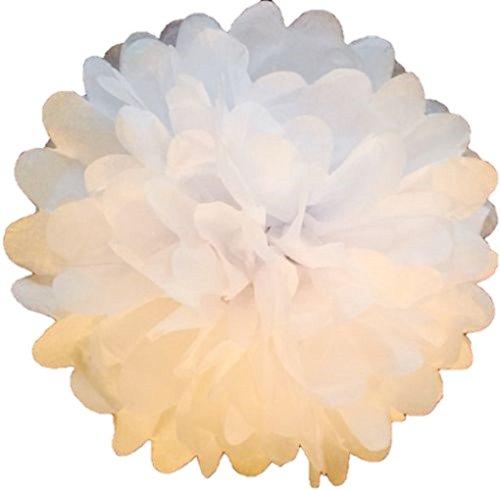 Pompony z bibuły, 20 cm, białe, 10 sztuk