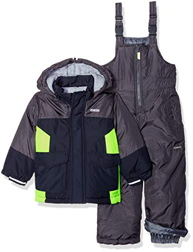 OshKosh B'Gosh Boys' Toddler Ski Jacket and Snowbib Snowsuit Set, Heather/Navy/Galactive Green, 4T