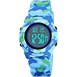 Boys Digital Sports Watch Electronic Thin Child Wrist Watches for Kids with Waterproof Stopwatch Alarm EL Outdoor Watches