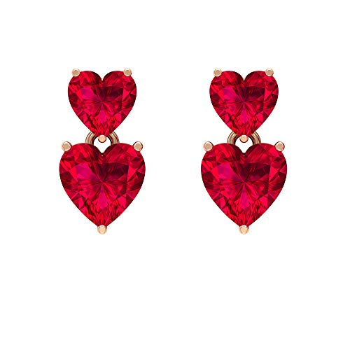 Pendientes de tuerca de corazón, pequeños pendientes gota, pendientes en forma de corazón, pendientes de rubí de 2,3 quilates, pendientes de piedra de nacimiento de julio, 10K Oro rosa, Par