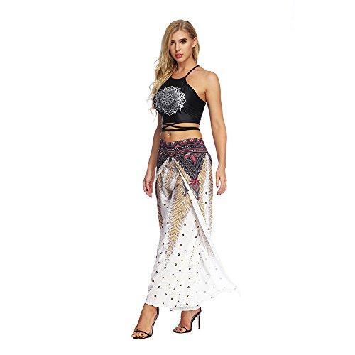 Everaie Pantalones de yoga con impresión digital de viento nacional de cintura alta y pierna ancha para yoga para mujer de secado rápido Mallas de fitness para mujer (talla XL)