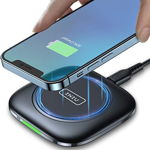 INIU Cargador Inalambrico Rápido, 15W Qi Wireless Charger Pad con Indicador Autoadaptativo Base Carga Inalambrica para iPhone 13 12 11 Pro XS X 8 Plus Samsung S21 S9 Note10 9 AirPods Huawei Xiaomi etc