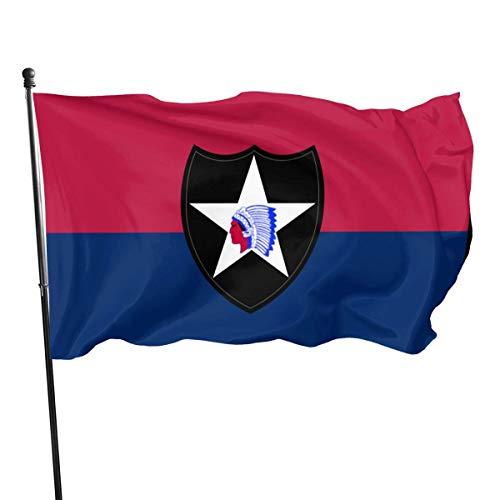 RFTGB Bandera de la 2da división de infantería del ejército de los Estados Unidos Bandera estadounidense de poliéster estadounidense de 3 x 5 pies - Color vivo y resistente a la decoloración UV - Cabe