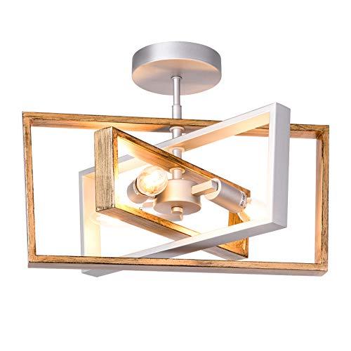 Dailyart Rotatable Ceiling Light, Rustic Ceiling Light with Adjustable Framework, Retro Vintage Industrial Flush Mount Ceiling Light for Living Room, Bedroom, Kitchen, Dining Room, Porch,11.2'x16'