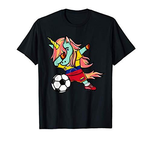Tamponando Unicorno Venezuela Calcio - Bandiera venezuelana Maglietta