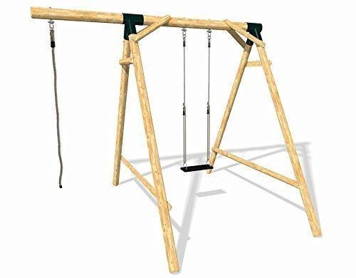 Loggyland 9131 - Holz-Schaukel-Set Energy aus Lärche/Douglasie mit Schaukelsitz und Kletterseil, Höhe 2.60m