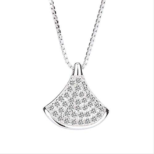 quanjiafu Necklace Women S Necklace Jewelry Pure Silver Small Red Book Zircon Skirt Necklace Triangular Leaf Children Hundred Scallop Shell Shell Collarchain Chain Gift
