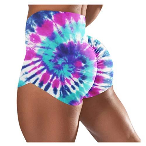 SHUNAGA Damen Kurz Sporthose High Waist Camouflage Stretch Sport Yoga Leggings Shorts Kurz Yoga Hose Damen Joga Shorts Hohe Taille Laufen Sport Fitness Outdoor Gym
