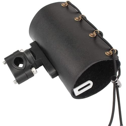 Portavasos de cuero ajustable para bebidas con giro de 360 ° para manillar de motocicleta de 22-28 mm