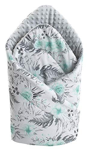 Einschlagdecke Steckkissen Minky 100% Baumwolle 75x75 cm Schlafsack doppelseitiges weich ganzjährig multifunktional antiallergisch Babys Medi Partners (graue Blument mit grauen Minky)