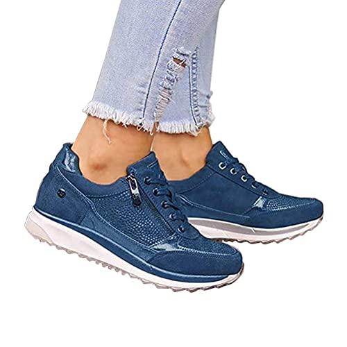 Onsoyours Zapatos Casuales de Las Mujeres de la Manera de la Cuña de Los Planos de la Cremallera del Cordón para Arriba Señoras Zapatillas de Deporte Azul 39