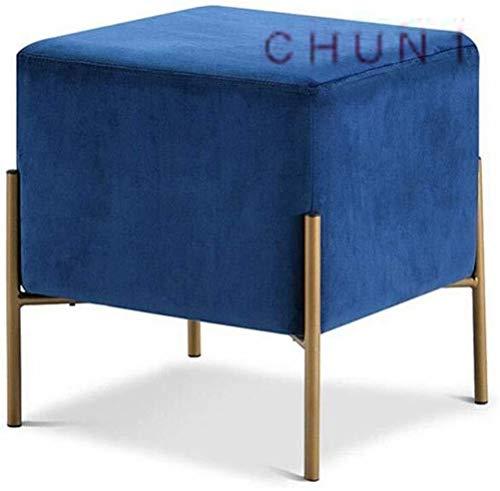 CHU N1 Schmiedeeisen Schuhmöbel, Sofa Kombination Kleine Stool Stoff Fuß Hocker 40 X40 x 43 cm (L × B × H) 125 (Size : Blue)